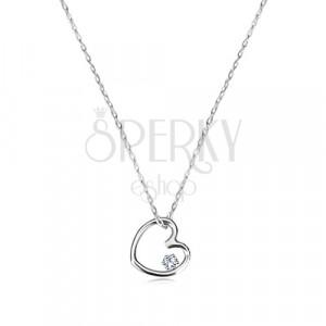 Ogrlica od bijelog 375 zlata - silueta malog simetričnog srca sa cirkonom