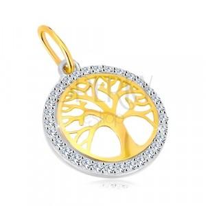 Kombinirani 14K zlatni privjesak - krug sa drvom života, svjetlucavi cirkoni