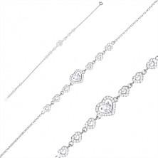 925 srebrna narukvica - serija cirkonskih srca, veće srce i cirkon