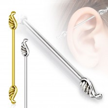 316L čelični tragus piercing za uho - krila anđela, 1,2 mm
