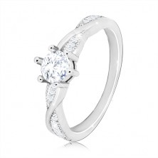 925 srebrni zaručnički prsten - okrugli prsten, valovite sjajne linije, cirkoni
