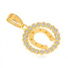 Zlatni privjesak od žutog 14K zlata - cirkonski krug i konjska potkova za sreću