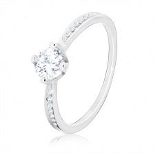 925 srebrni prsten - svjetlucavi okrugli cirkon, usjeci sa malim cirkonima