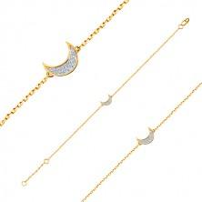 14K zlatna narukvica - fini sjajni lančić, polumjesec ukrašen cirkonima