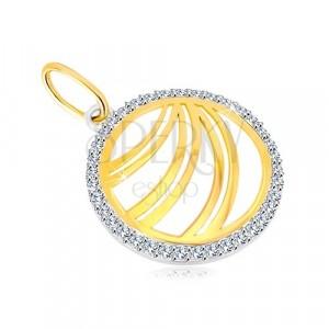 585 zlatni privjesak - dvostruka linija cirkonskog prstena od bijelog zlata