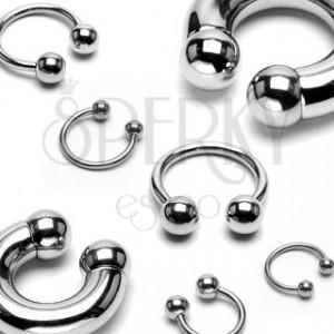 Čelični 316L prsten - masivna konjska potkova koja završava lopticama, širina 10 mm