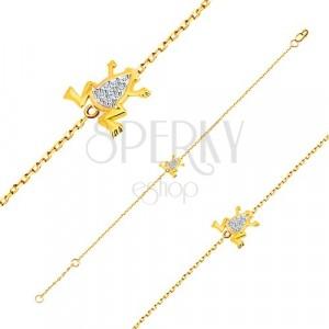 Narukvica od 14K zlata - fini lančić, žaba od bijelog zlata i cirkoni