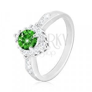 925 srebrni prsten - prozirni cirkonski romb, okrugli zeleni cirkon