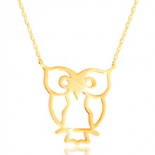 Ogrlica od žutog 585 zlata - sova kao simbol mudrosti, sjajni tanki lančić