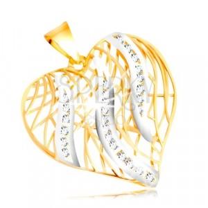 14K zlatni privjesak - silueta srca, plamen vatre od bijelog zlata sa cirkonima