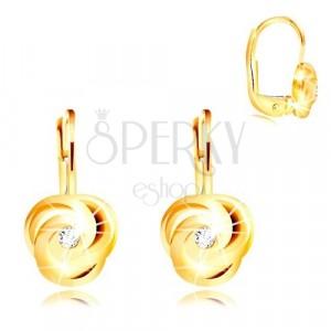 Naušnice od žutog 14K zlata - tri spiralno savijene latice, okrugli cirkon