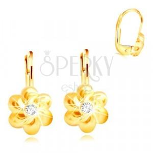 585 zlatne naušnice - cvijet sa šest okruglih latica, prozirni cirkon u sredini