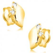 Žute 14K zlatne naušnice - sjajni list sa dva prozirna cirkona