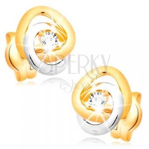 585 zlatne naušnice - dvobojni međusobno povezani prsteni, prozirni svjetlucavi cirkoni