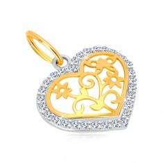 14K zlatni privejsak - silueta srca sa cirkonima, dekorativno urezana sredina