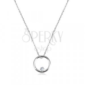 Dijamantna ogrlica od bijelog 375 zlata - uski sjajni krug i brilijant