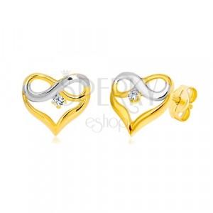 Naušnice od 14K kombiniranog zlata - silueta srca, simbol BESKONAČNOSTI, cirkon