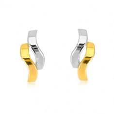 Naušnice od 585 kombiniranog zlata - sjajni dvobojni valovi, dugmad