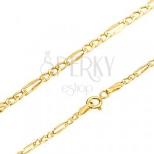 585 narukvica od žutog zlata - Figaro uzorak, tri ovalne i jedna duguljasta karika, 190 mm