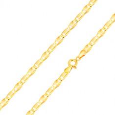 14K zlatna narukvica - duguljaste karike sa pravokutnikom, karike sa radijalnim usjecima , 200 mm