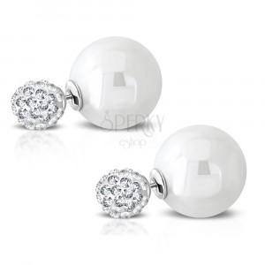 Čelične naušnice - svjetlucava loptica sa ugrađenim cirkonima, umjetni biser