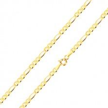 Narukvica od 14K žutog zlata - tri karike razdvojene štapićima, duguljasta karika, 200 mm