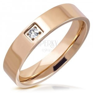 Sjajni čelični prsten - bakrena boje, okrugli brušeni cirkon sa kvadratnim postoljem, 5 mm