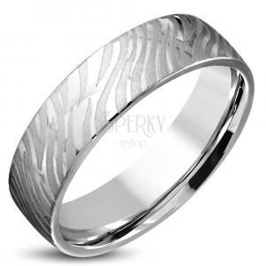 Sjajni čelični srebrni prsten, mat motiv zebre, 6 mm