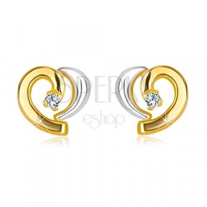 Diamond earrings of combined 585 gold - asymmetric heart with brilliant