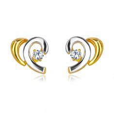 Kombinirane 14K zlatne naušnice - polovice srca sa brilijantom
