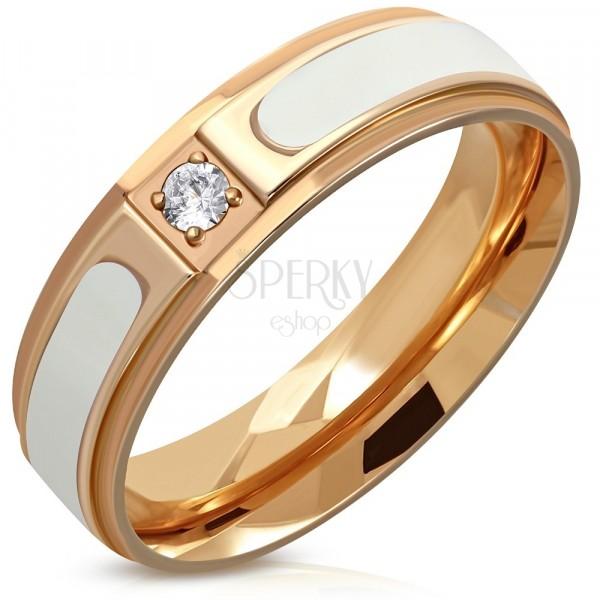 Čelični prsten bakrene boje - uzdignuta bijela traka, prozirni okrugli cirkon, 6 mm