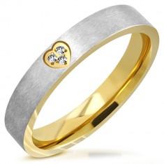 Dvobojni čelični vjenčani prsten - mat traka, usječeno srce sa cirkonima, 4 mm