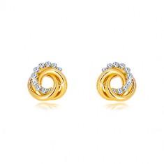 14K naušnice od žutog zlata - dva prstena i cirkonski krug, dugmad