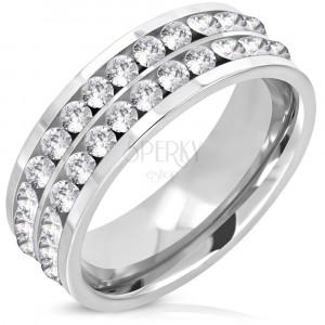 Čelični prsten sa dvije linije i sjajnim okruglim cirkonom, 7 mm