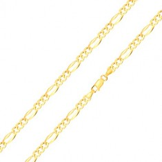 585 zlatna narukvica – duguljasta karika sa proširenim rubovima, tri ovalne karike, 210 mm
