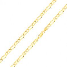 585 zlatna narukvica – tri ovalne karike, duguljasta karika sa proširenim rubovima, 180 mm
