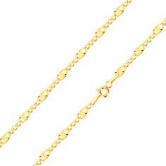 585 narukvica od žutog zlata - duguljasta karika sa radijalnim linijama, tri ovalne karike, 190 mm