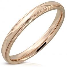 Prsten od nehrđajućeg čelika bakrene boje - zrcalno sjajna traka, uvučeni rubovi, 3 mm
