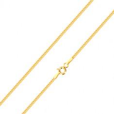 Sjajni lančić od 14K žutog zlata, linija dijagonalno povezanih karika, 500 mm