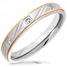 Dvobojni čelični prsten - mat traka sa usjecima, kosi rubovi, cirkoni, 3,5 mm