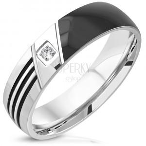 316L čelični prsten - crna polovica, tri usjeka, prozirni okrugli cirkon, 6 mm