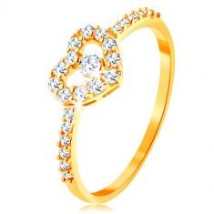 Prsten od zlata 375 - cirkonski krakovi, svjetlucava prozirna silueta srca sa cirkonom
