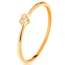 Prsten od 9K žutog zlata - srce ukrašeno okruglim prozirnim cirkonima