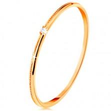 Prsten od 9K žutog zlata - sitni prozirni cirkon, fino urezani krakovi