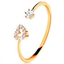 Prsten od žutog zlata 375 - sjajni krakovi koji završavaju siluetom srca i prozirnim cirkonom