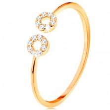 Prsten od zlata 375 s uskim razdvojenim krakovima, mali cirkonski obruči