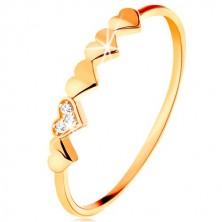 Prsten od 9K žutog zlata - mala svjetlucava srca, prozirni cirkoni