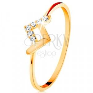 Svjetlucavi prsten od 9K žutog zlata - sjajna i cirkonska zakrivljena linija
