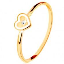 Prsten od 9K žutog zlata - srce s bijelim obrubom i prozirnim cirkonom