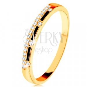 Prsten od 9K žutog zlata - crne glazirane pruge, prozirna cirkonska linija